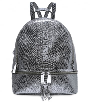 Metallic Textured Leather Rhea Backpack