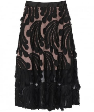 Mercedes Feathered Midi Skirt