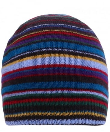 Cashmere Blend Striped Beanie Hat