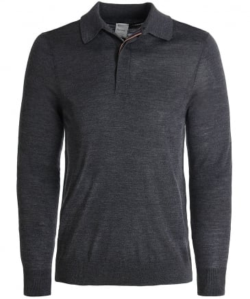 Merino Wool Long Sleeve Polo Shirt