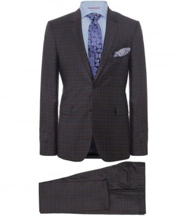 Slim Fit Virgin Wool Check Suit