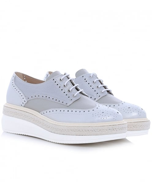 Peperosa Leather Wedge Platform Brogues