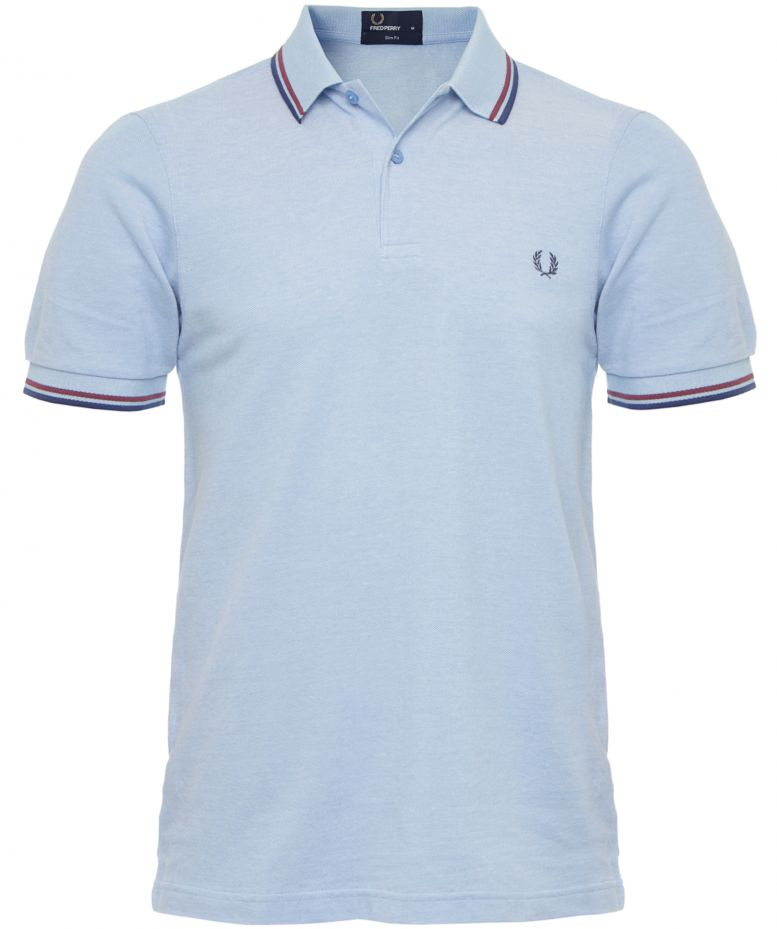 04779c8cf Fred Perry Light Blue Slim Fit Twin Tipped Polo Shirt available at ...