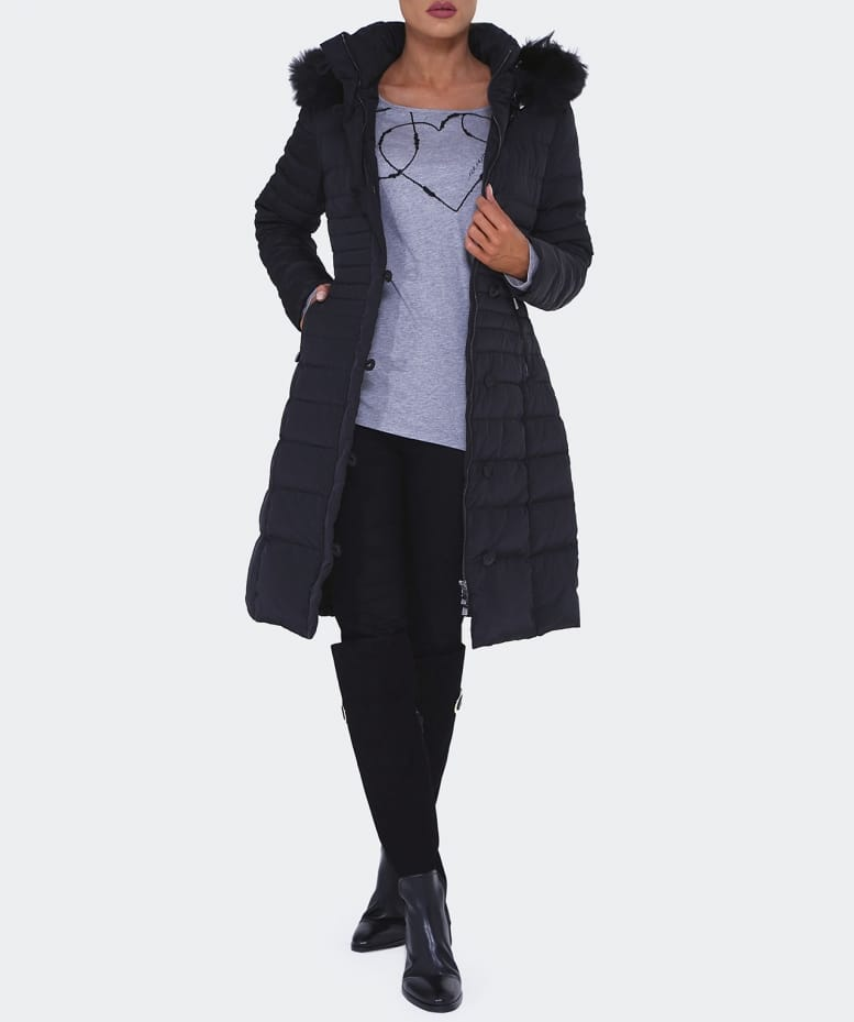 Armani Jeans Black Long Down Quilted Coat Jules B
