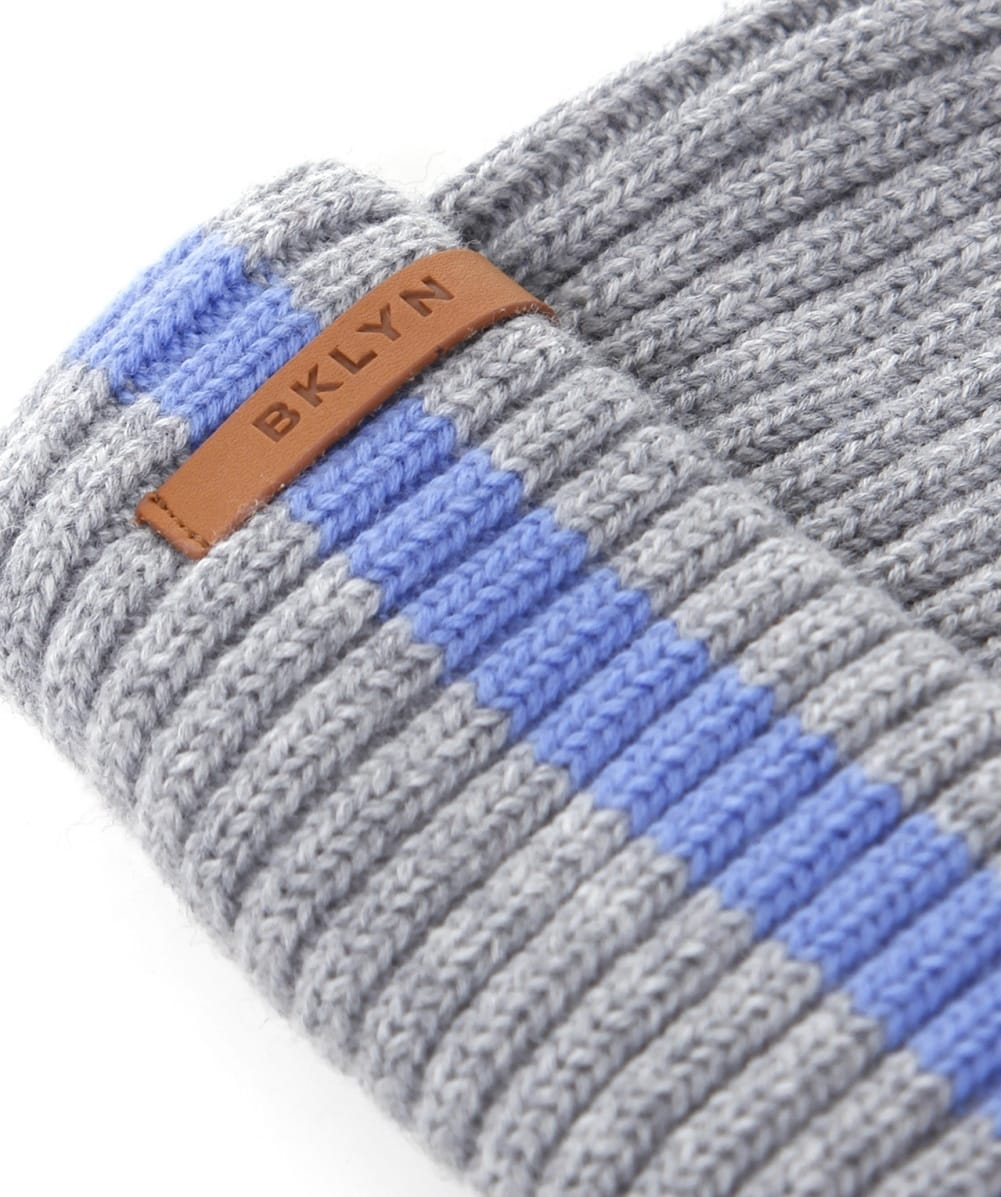 bda460d3a58 BKLYN Grey and Blue Merino Wool Beanie Hat