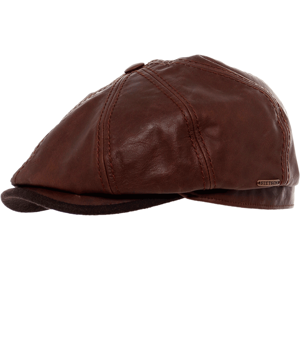 Stetson Brown Leather Hatteras Cap  b8fc3c8ddbc