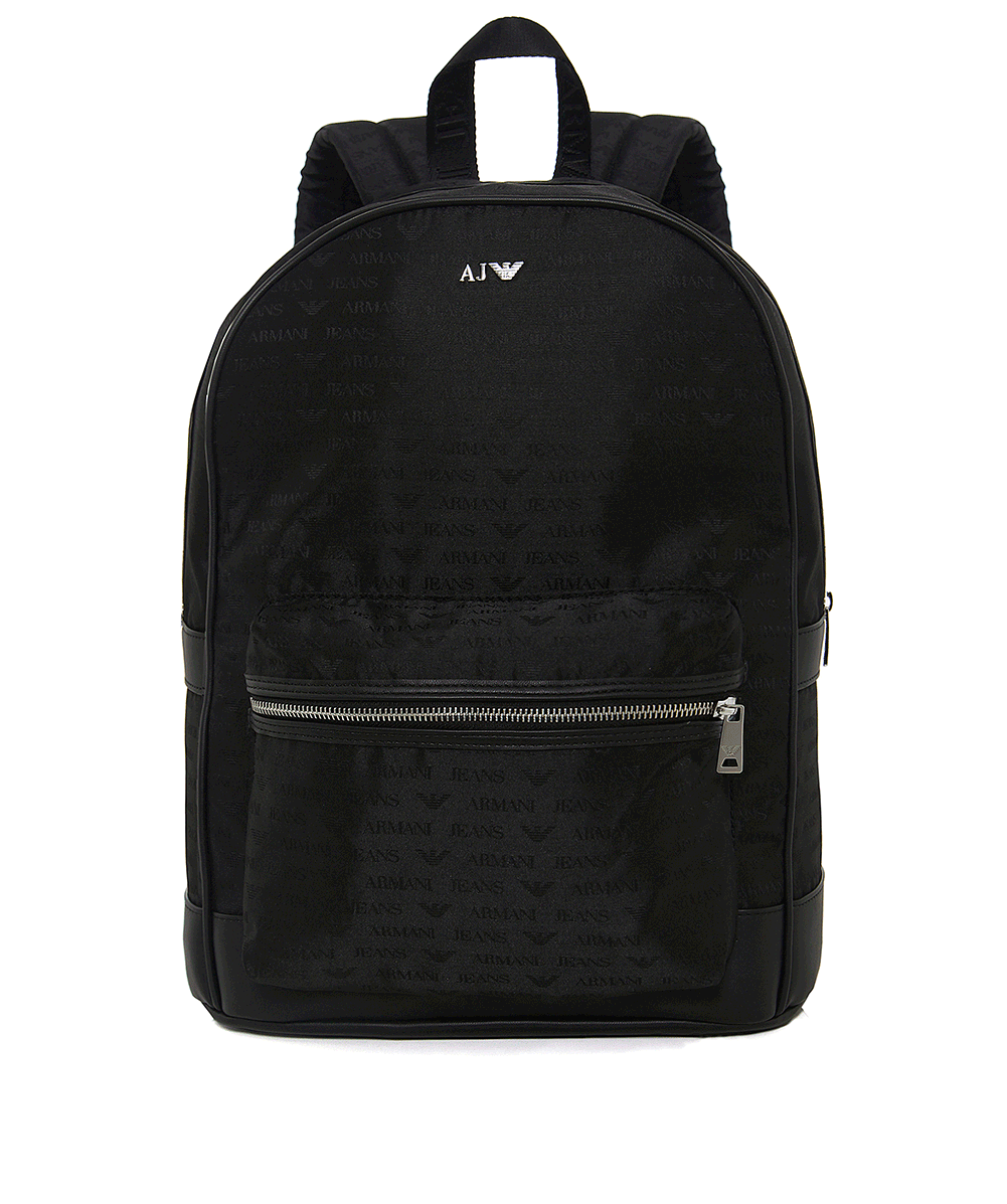 Armani Jeans Black Faux Leather Logo Backpack  08692ca7bcbfe