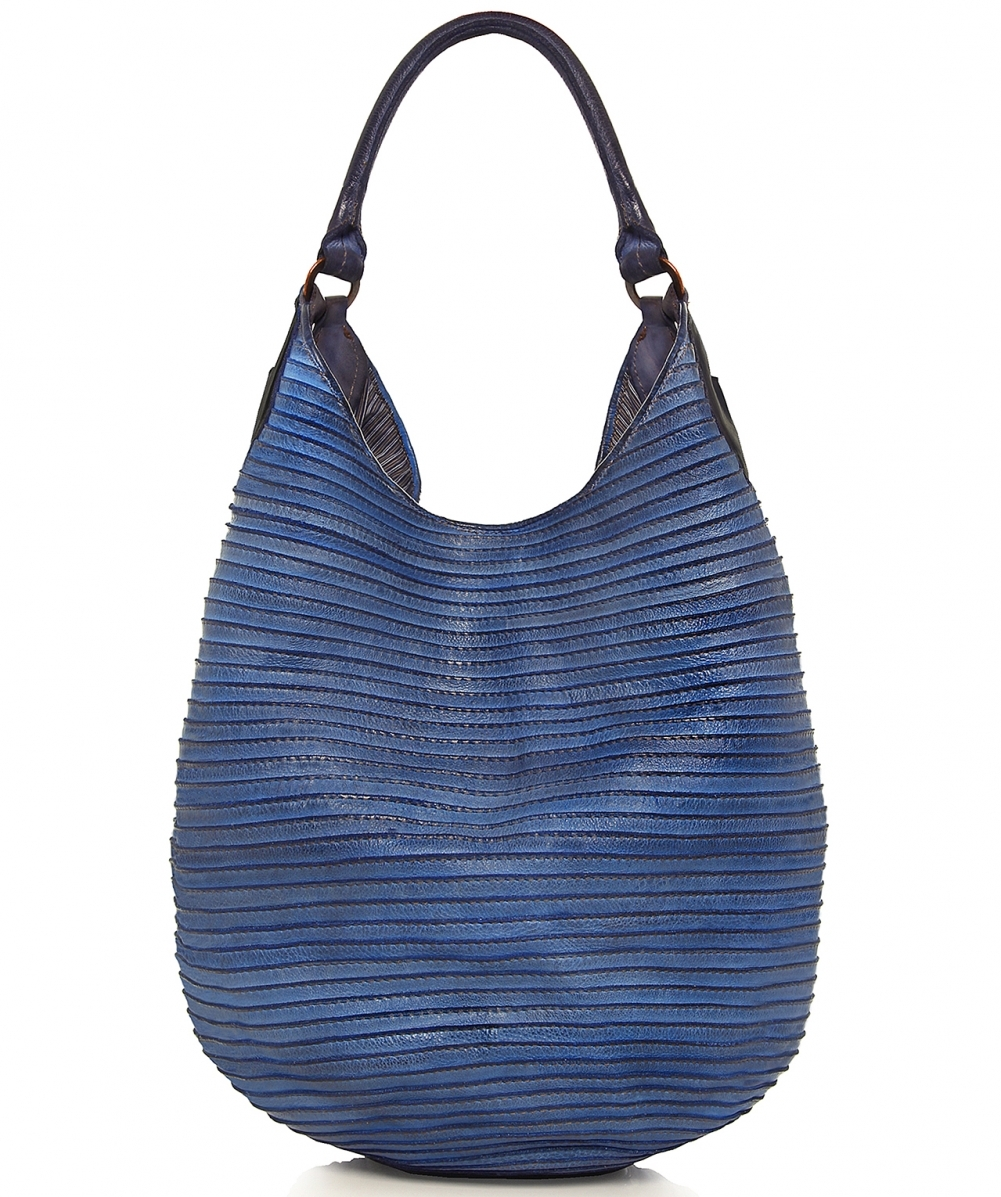 a2e41b69666c Majo Blue Large Leather Slouch Bag