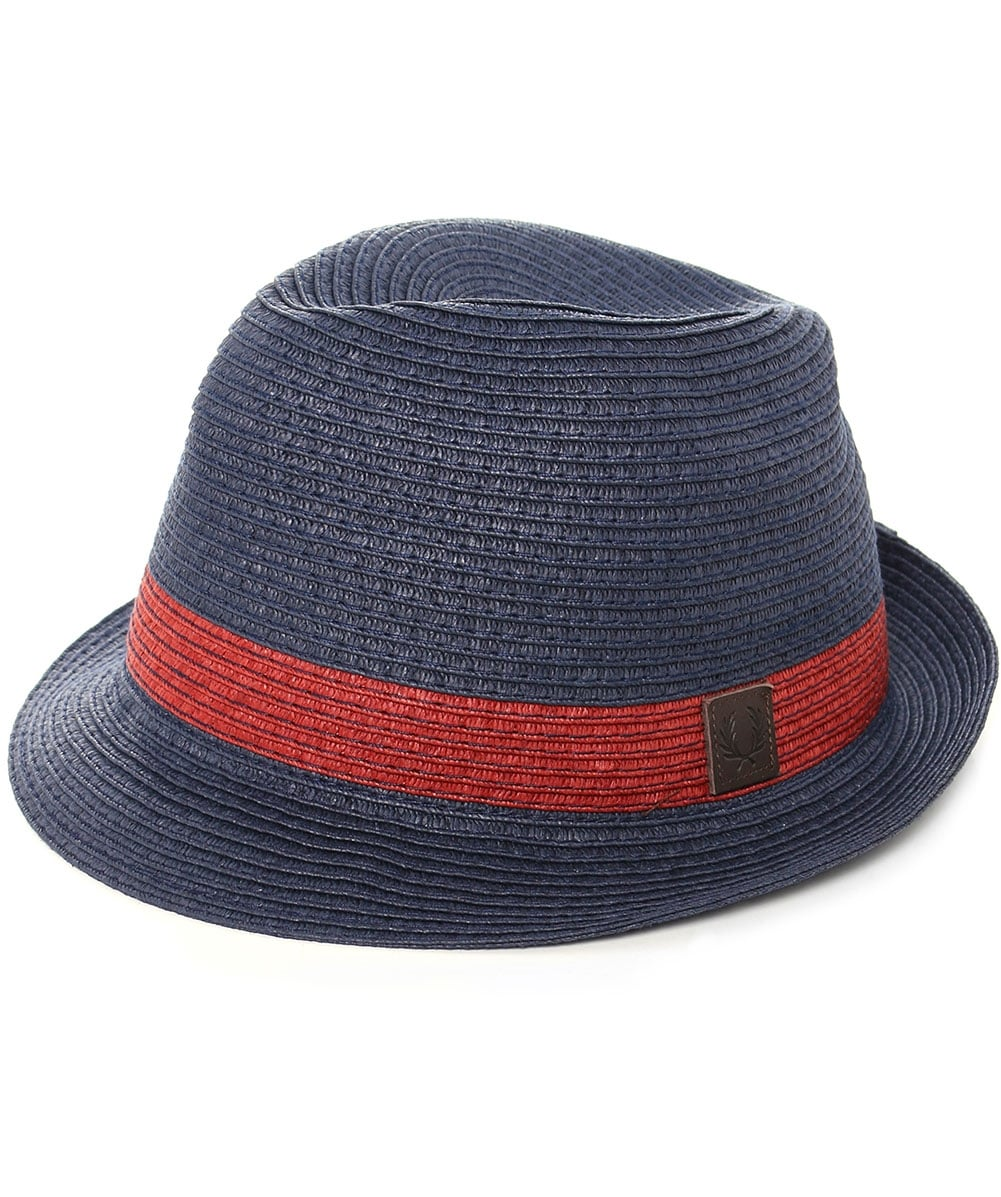 Fred Perry Navy Straw Trilby Hat HW1621  28d43cf2d49