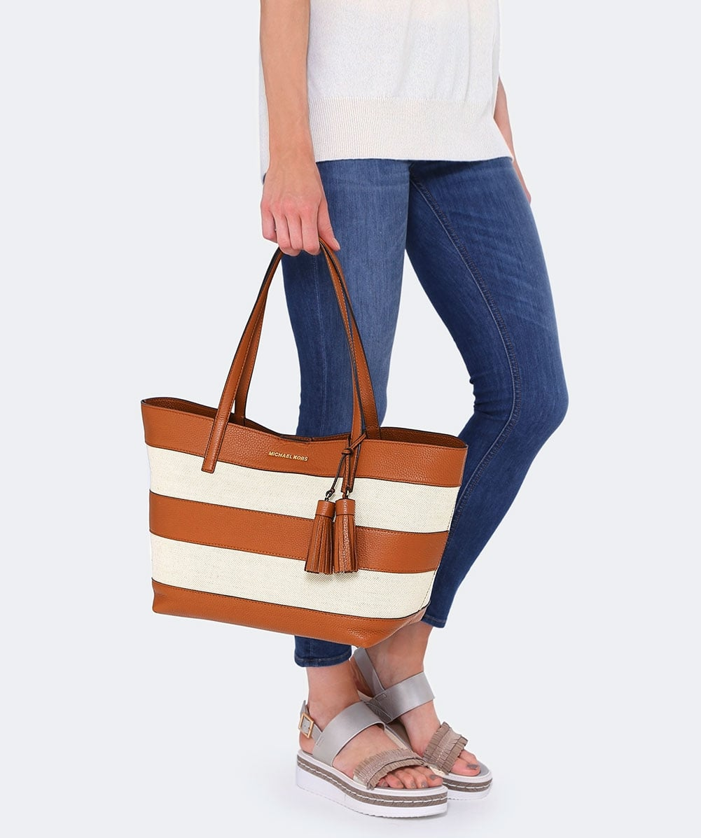 ca8824aa5831 MICHAEL Michael Kors Stripe Canvas and Leather Tote Bag