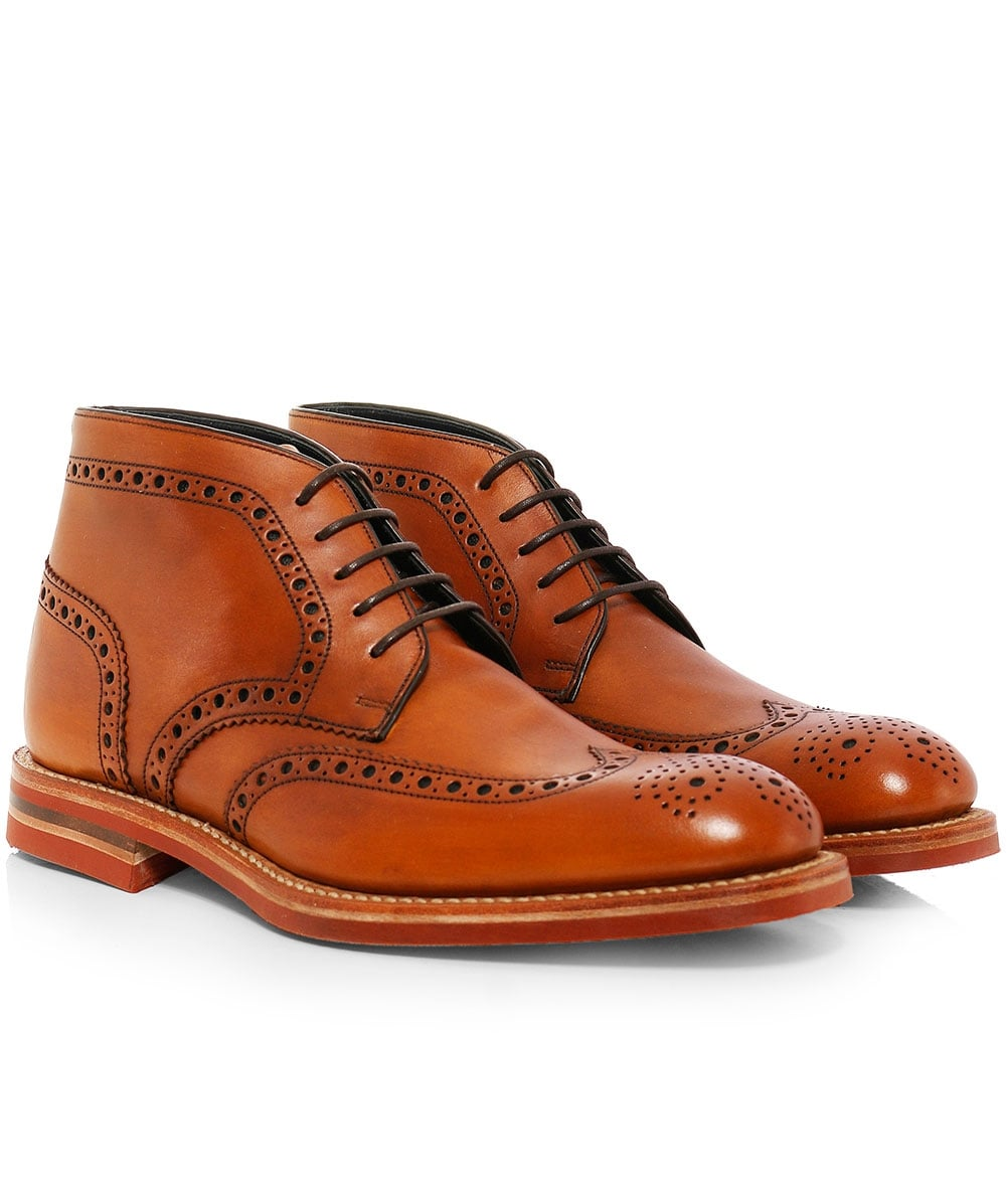 85ffda9eb61 Loake Cognac Calf Leather Reading Derby Boots