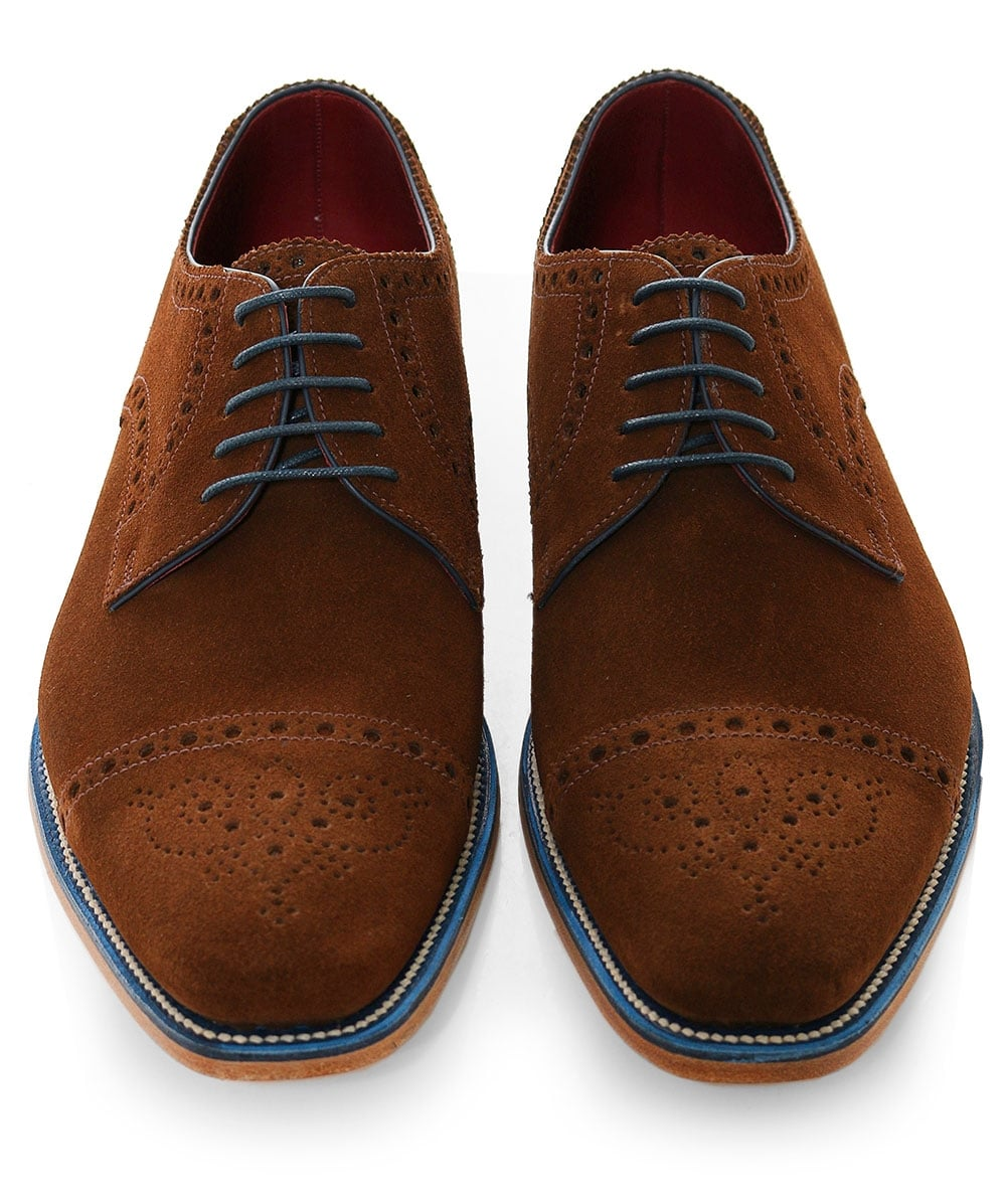 Loake Brown Suede Foley Derby Shoes