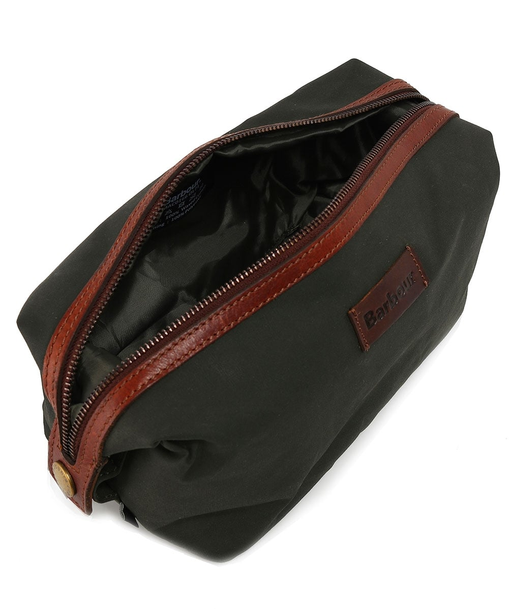 74642374ab02 Barbour Olive Dry Wax Convertible Wash Bag