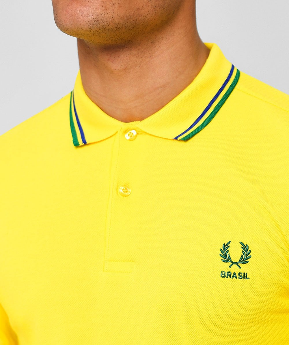6a6c5bd3c Fred Perry Yellow Twin Tipped Brazil Polo Shirt M4600 369