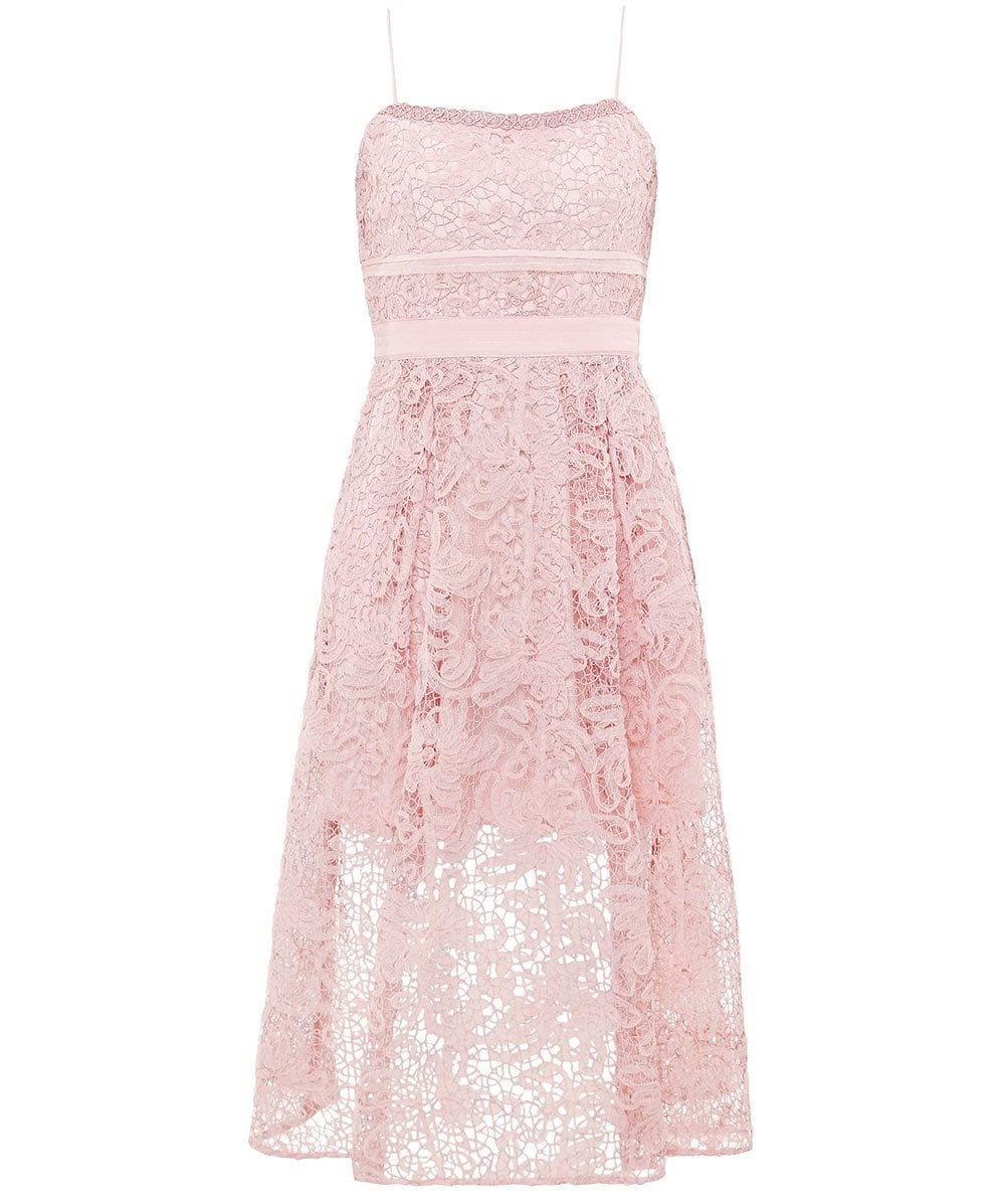 4cde402ac2f5 Self-Portrait Pink Lace Sleeveless Midi Dress | Jules B