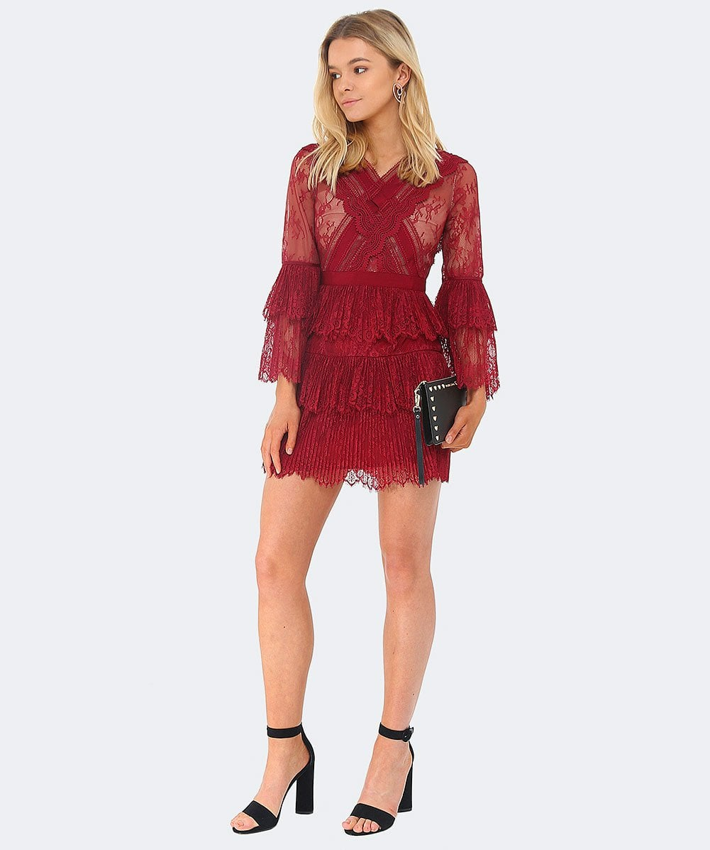 b7d942d0a764 Self-Portrait Burgundy Ruffled Lace Mini Dress | Jules B