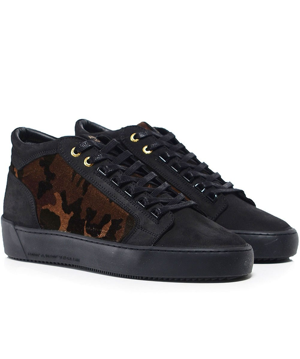 0cf60159f2b Android Homme Black Propulsion Mid Top Camouflage Velvet Trainers ...