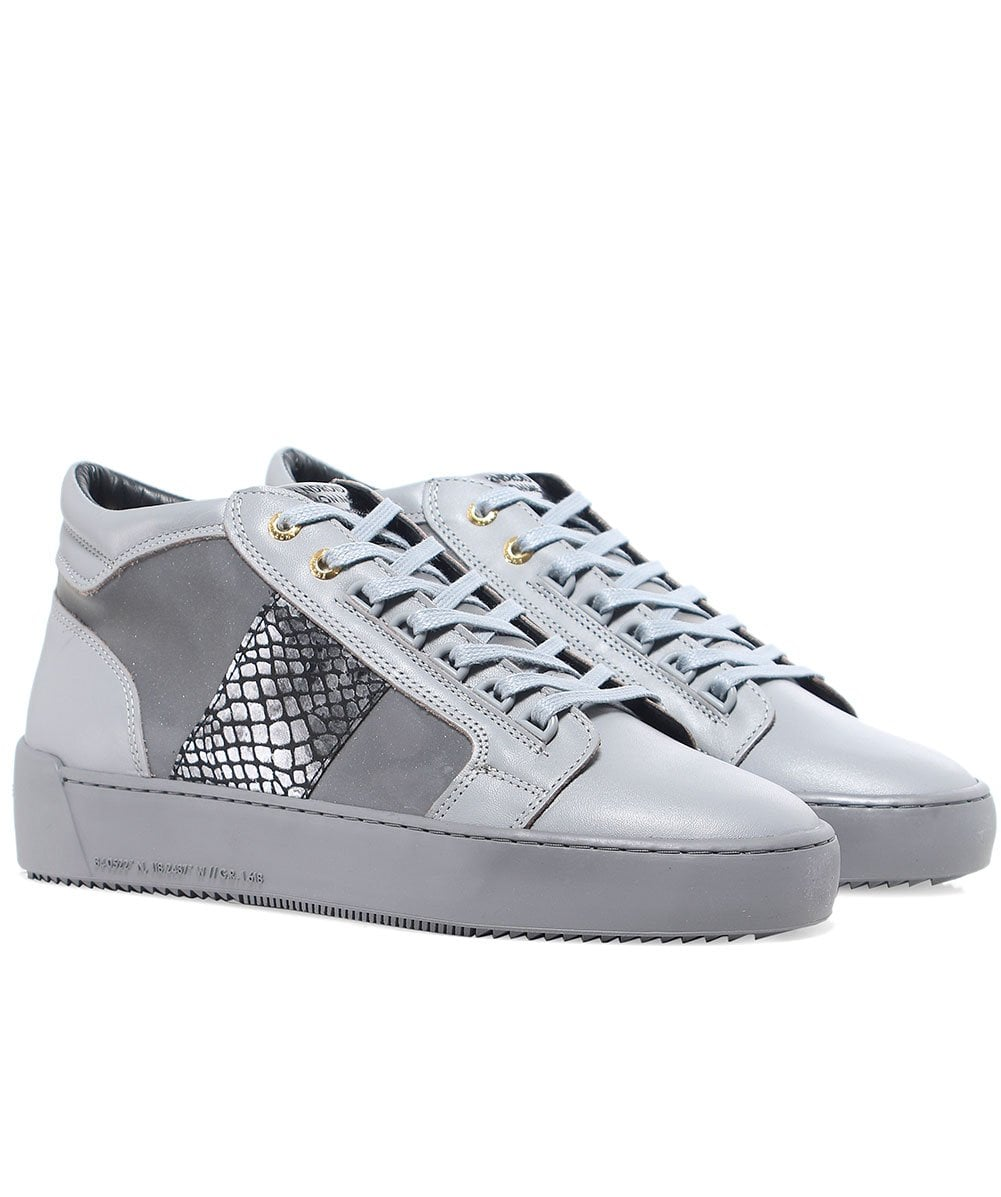 42b32335b91 Android Homme Grey Propulsion Mid Top Mirror Python Trainers Jules B