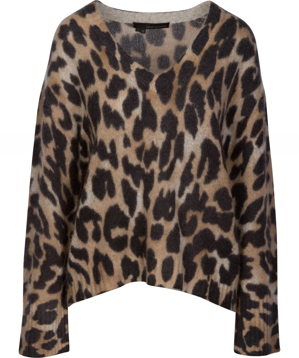 f7fe30fb6142 360 Sweater Cashmere Geraldine Animal Print Jumper | Jules B