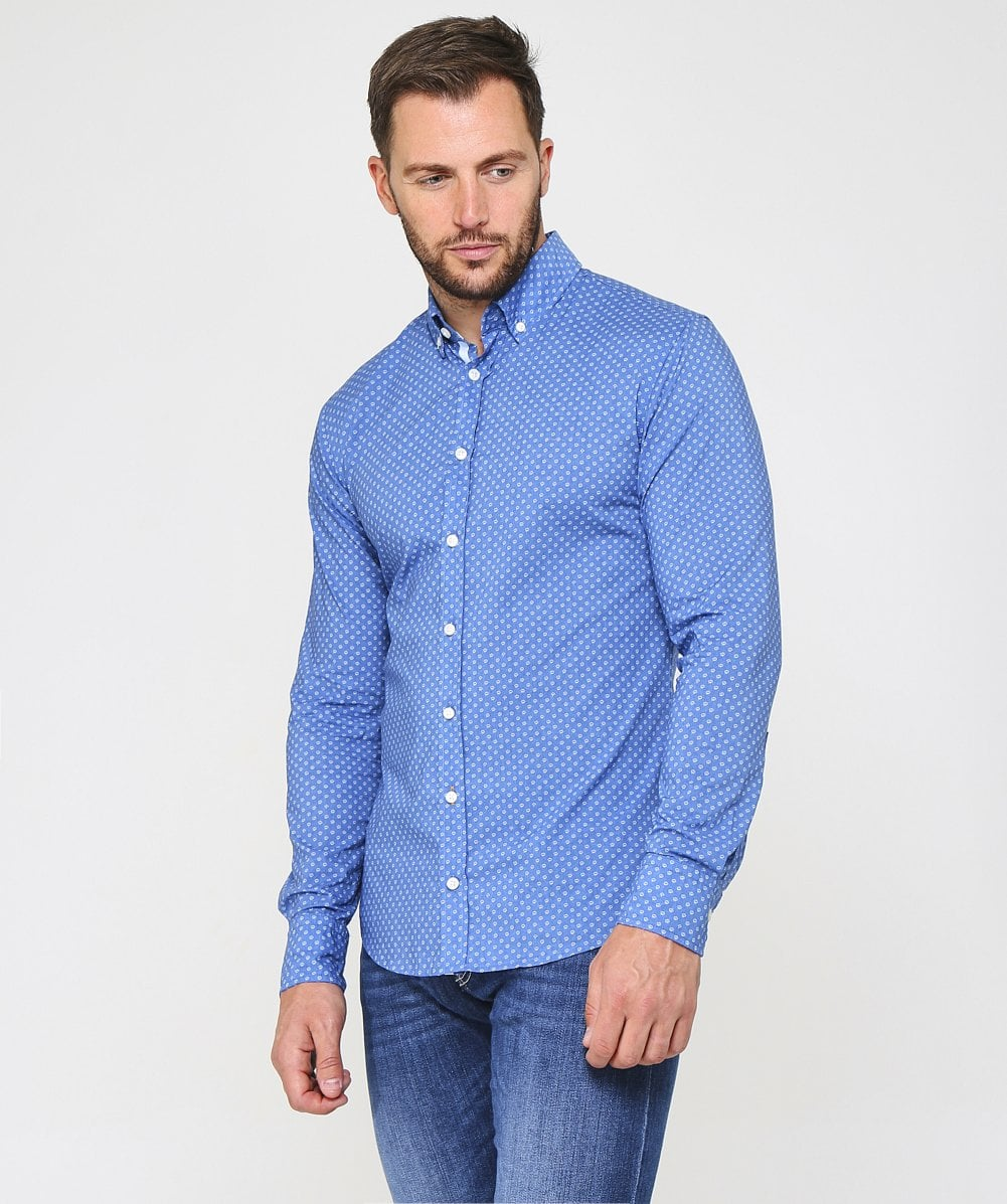 9dec00aa BOSS Blue Slim Fit Mabsoot Shirt | Jules B