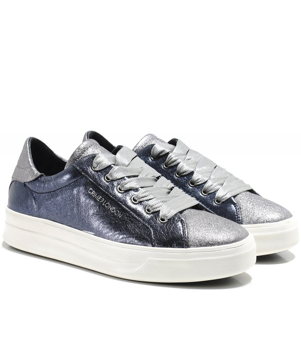 Crime London Navy Metallic Sonic Trainers  936cf3e3984
