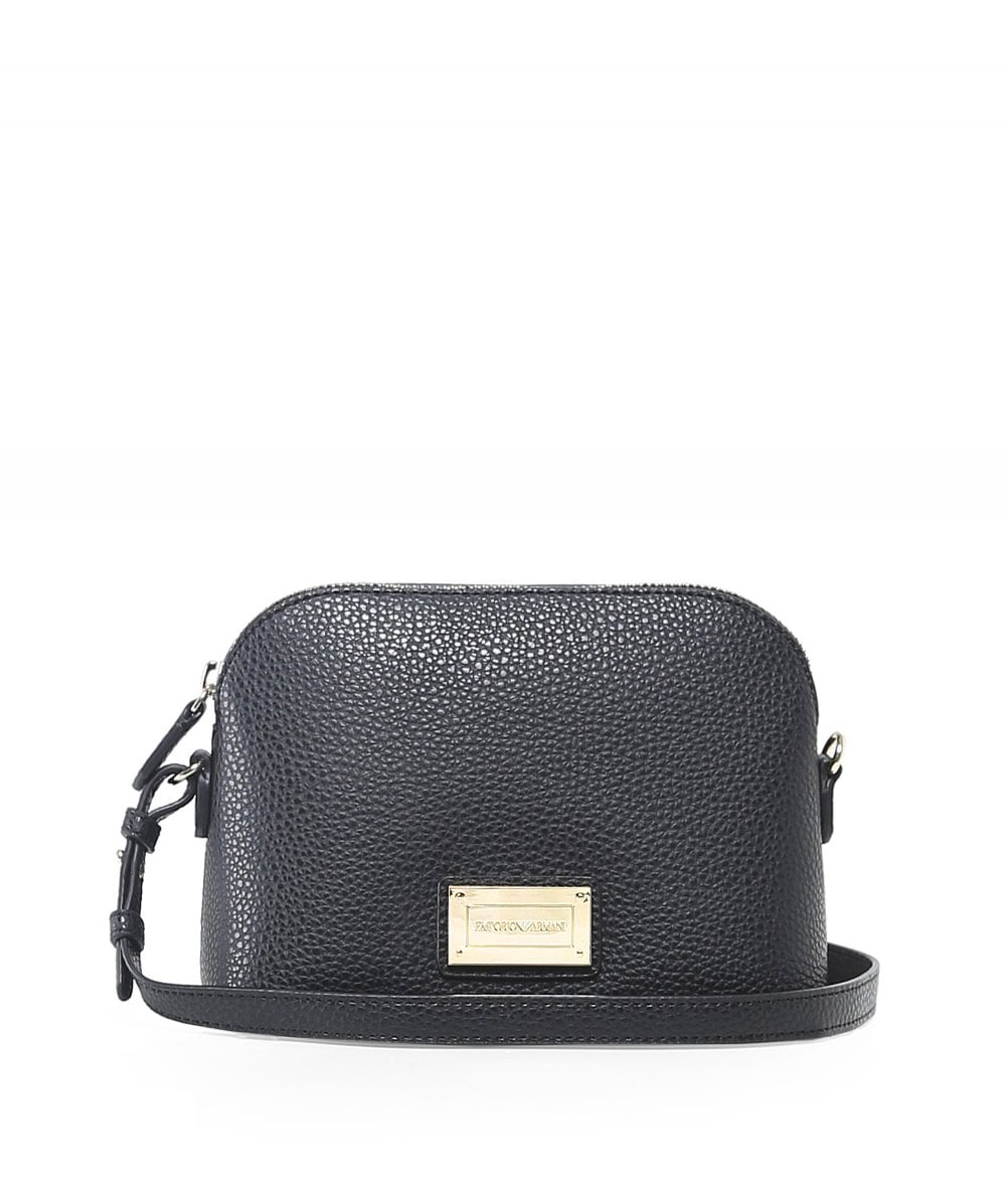 cf5abed362 Emporio Armani Black Faux Leather Small Shoulder Bag