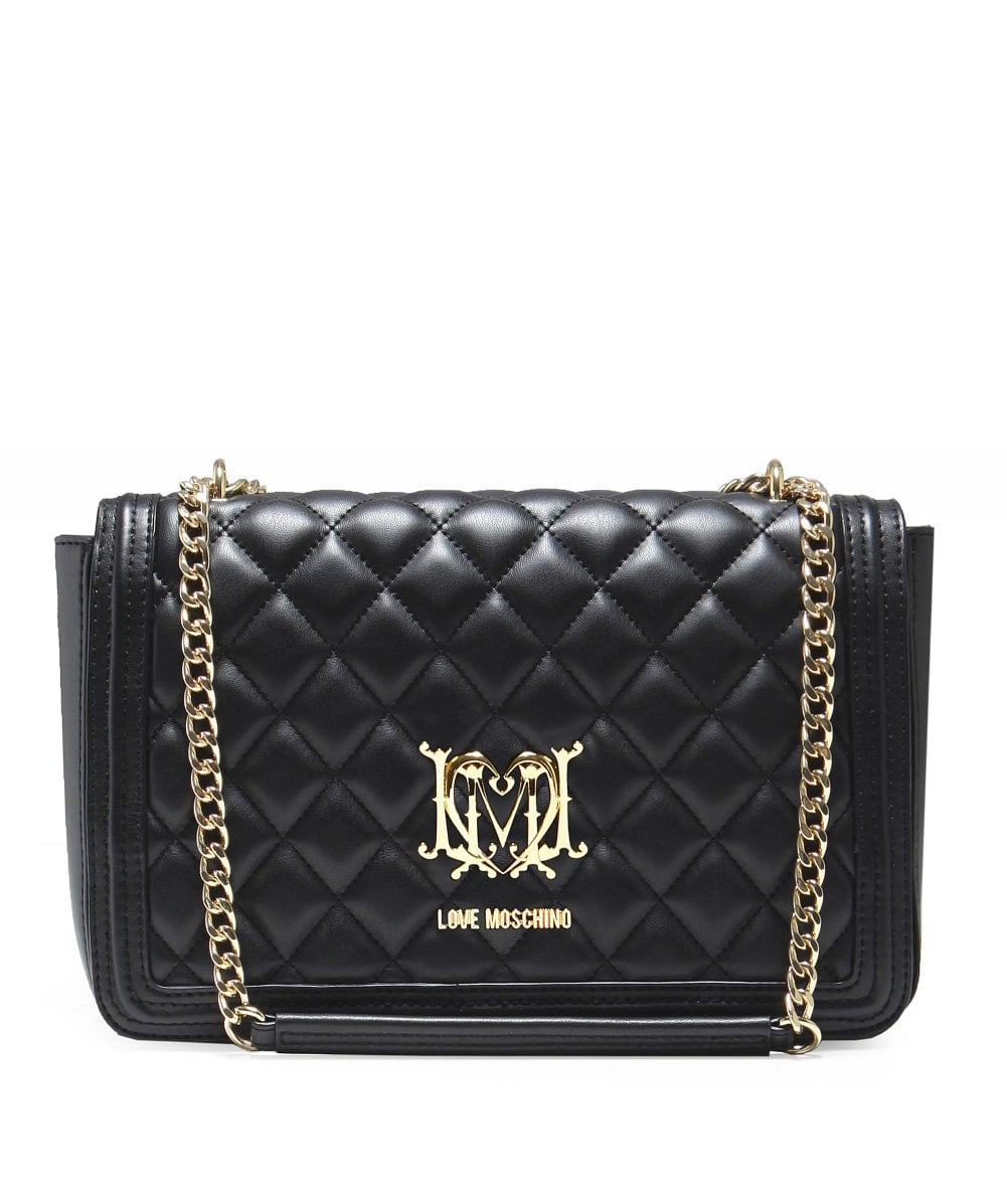 826158ac5a16 Love Moschino Black Quilted Chain Shoulder Bag