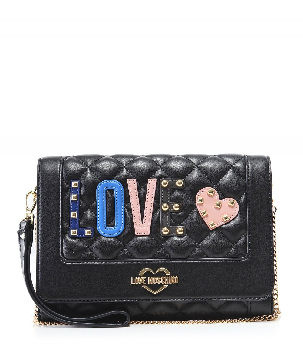 Love Moschino Black Quilted  Love  Clutch Bag  5fae27ebbb56