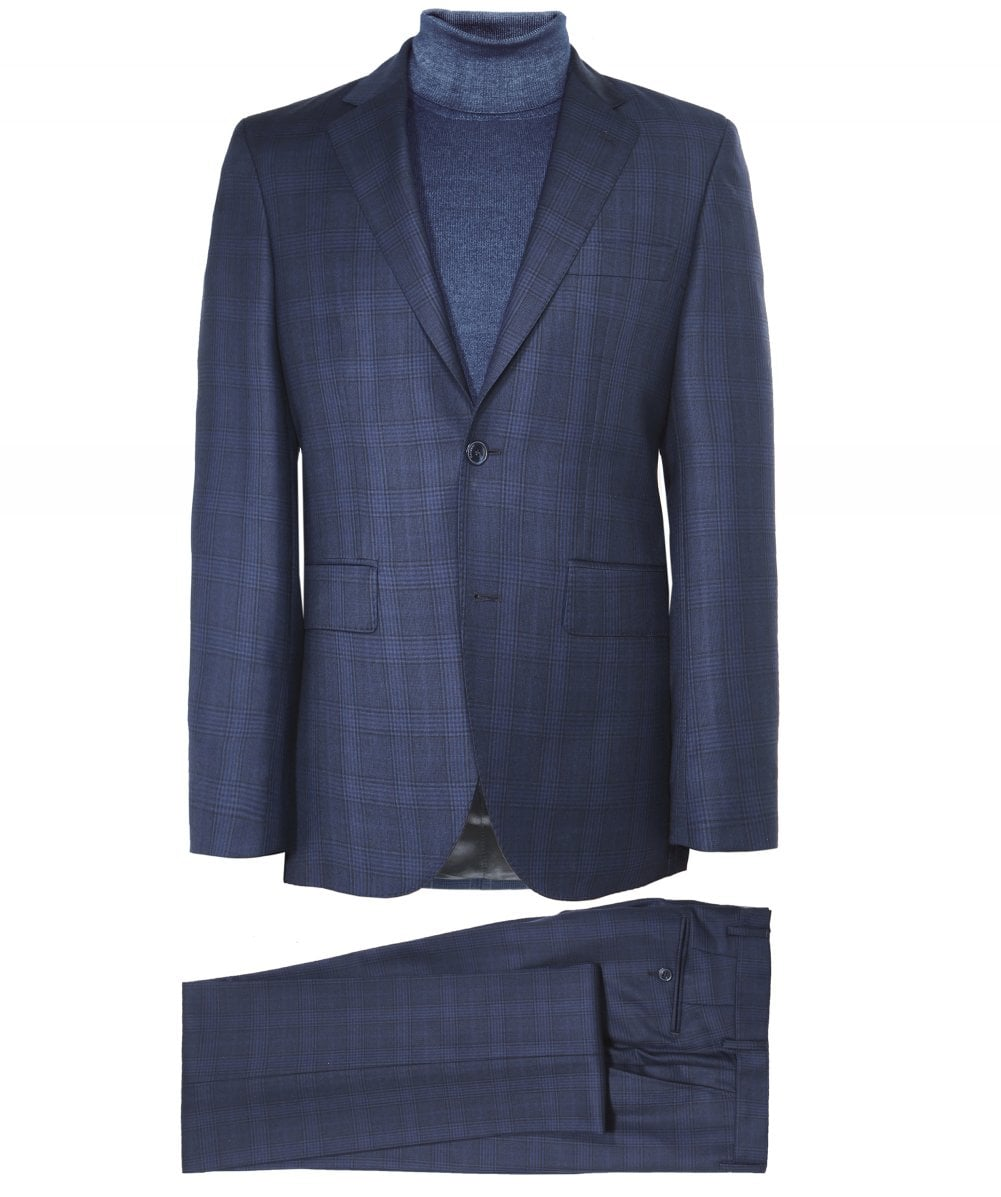 4ff602348 Hackett Navy Wool Prince of Wales Check Suit | Jules B