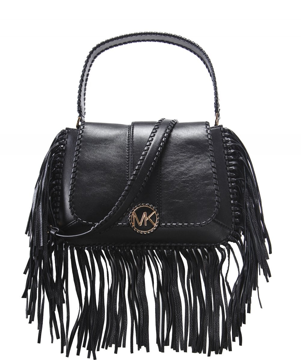 9d15ad73836c Michael Kors Black Lillie Medium Fringed Leather Bag | Jules B