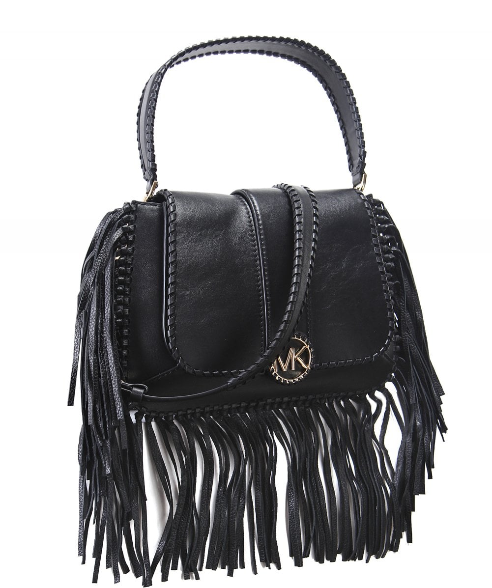 c7d4deb85b53 Michael Kors Black Lillie Medium Fringed Leather Bag