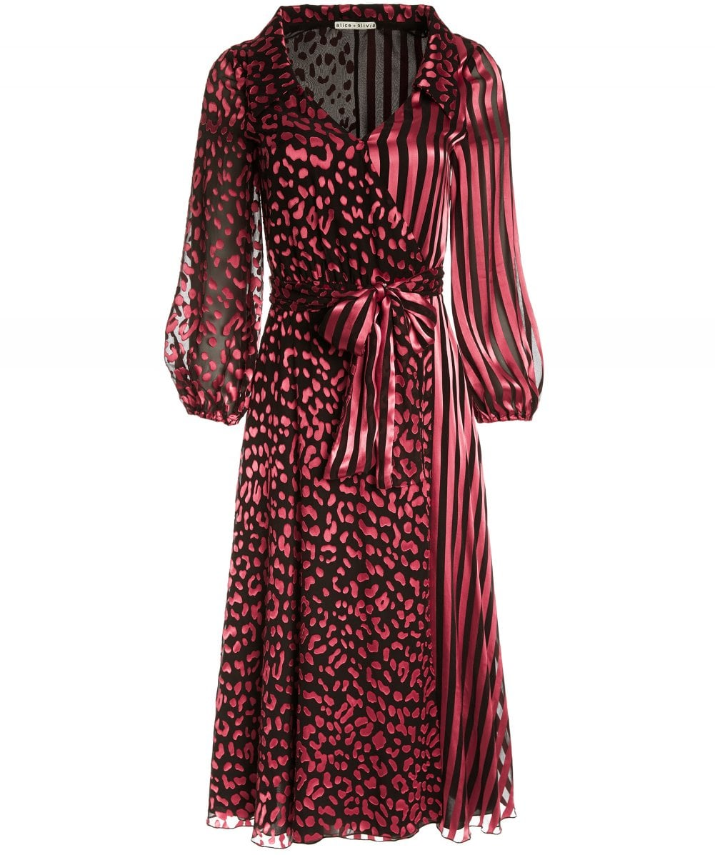 9dc02472ea Alice and Olivia Silk Blend Abigail Wrap Dress. Alice and Olivia Silk Blend  Abigail Wrap Dress