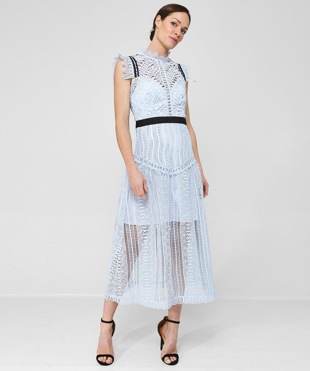 Abstract Triangle Lace Midi Dress