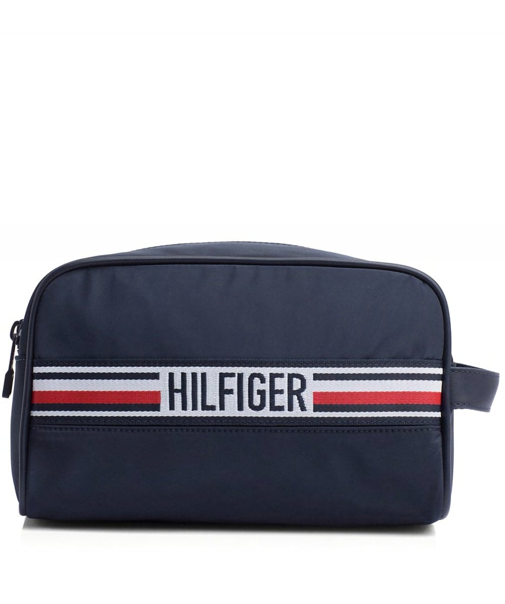 3ad643fe582 Tommy Hilfiger Navy Signature Tape Double Wash Bag | Jules B