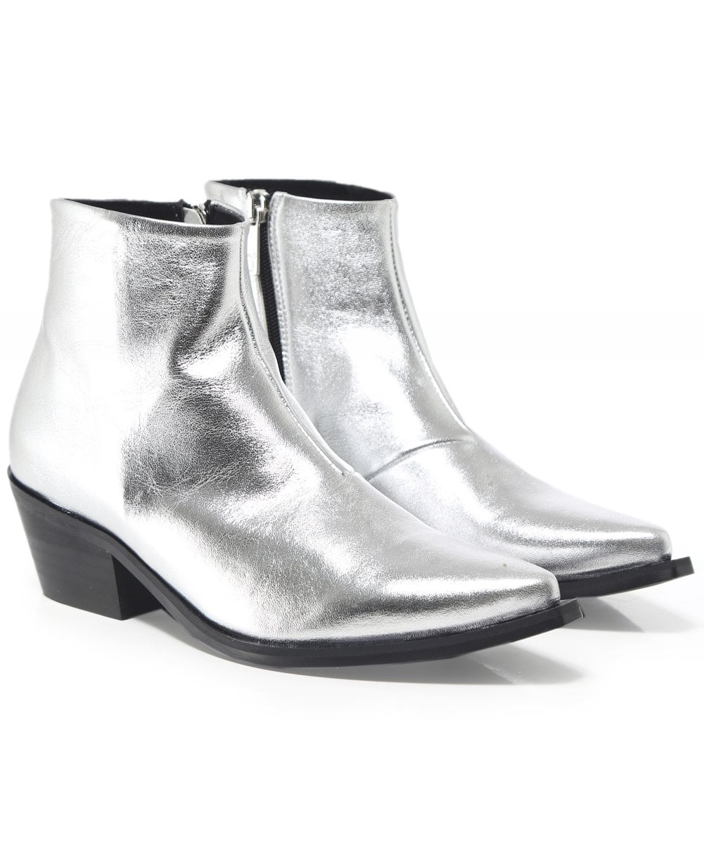 b4777a8de Ma&Lo Silver Metallic Leather Ankle Boots | Jules B