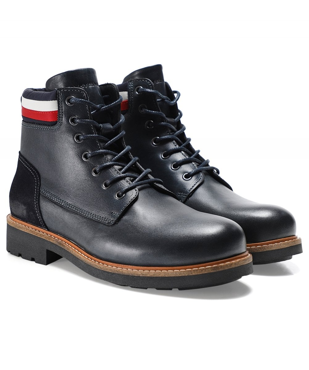 new arrivals vast selection wide varieties Tommy Hilfiger Navy Leather Active Corporate Boots | Jules B