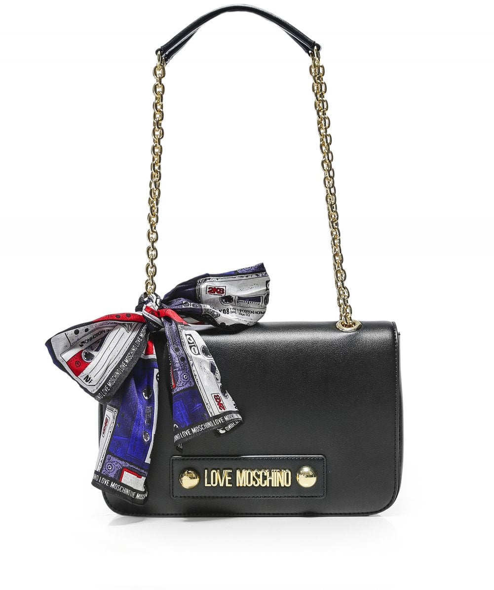 new lower prices the sale of shoes best shoes Love Moschino Black Logo Foulard Shoulder Bag   Jules B