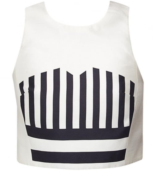 Tibi Striped Silk Crop Top