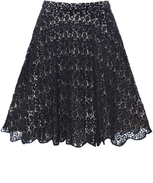 Alice and Olivia Embellished Lace Skirt