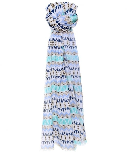 Jules B Geometric Pattern Cotton Scarf