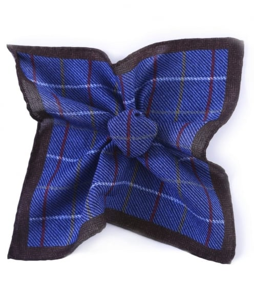 Jules B Wool Check Pocket Square