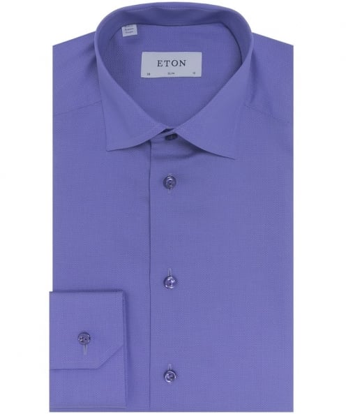 Eton Slim Fit Pin Dot Satin Shirt