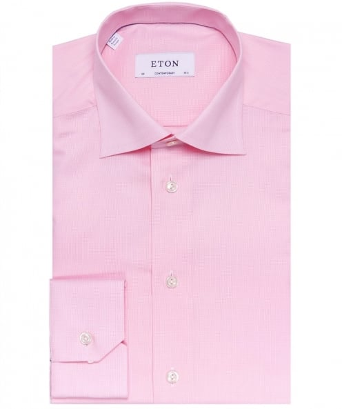 Eton Contemporary Fit Micro Gingham Shirt