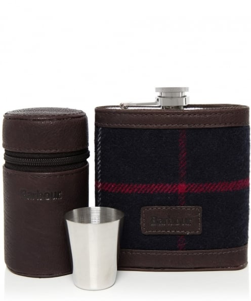 Barbour Tartan Hip Flask and Cups Set