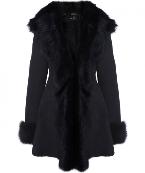 Dom Goor Hooded Sheepskin Waterfall Coat