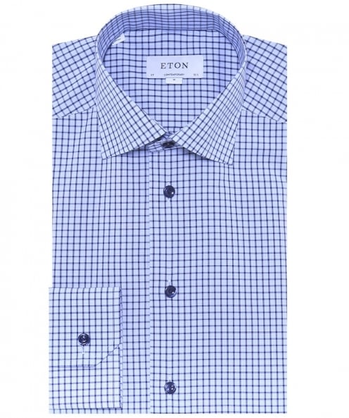 Eton Contemporary Fit Grid Check Shirt