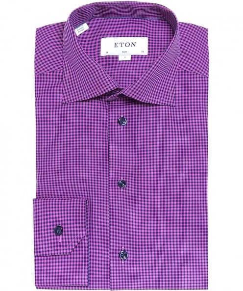 Eton Slim Fit Micro Check Shirt
