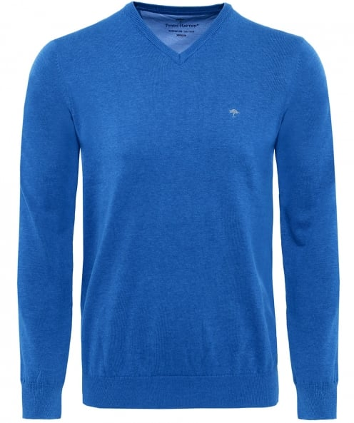 Fynch-Hatton V-Neck Superfine Cotton Jumper