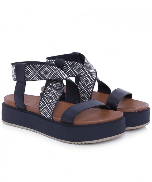Inuovo Studded Ankle Wedge Sandals