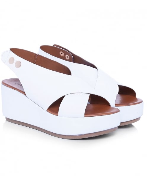 Inuovo Leather Sling Back Wedge Sandals